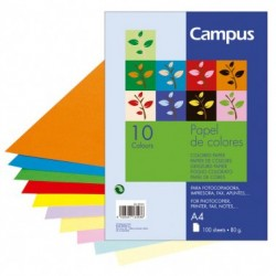 Campus Papel A4 80gr 10 Colores 100H