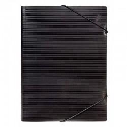 Milan Carpeta PP A4 con gomas y solapas Negra