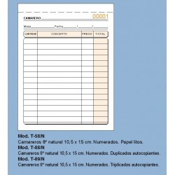 Loan T88N Talonario Camareros 1/8 Duplicado Numerado