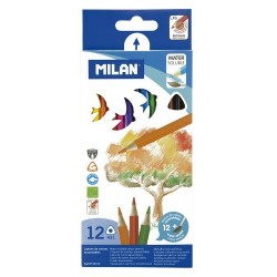 Milan Lapices Acuarelables triangulares 12 colores + pincel