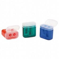 Campus Afilador Plastico cuadrado 2 bocas con tapa y deposito