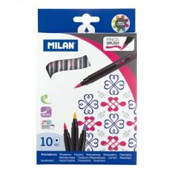 Milan Rotuladores Punta Pincel 10 colores