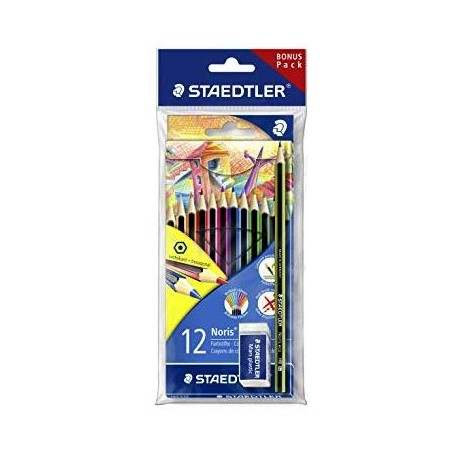 Staedtler NC12 Lápices 12 Colores + Regalo (Lápiz, Goma)