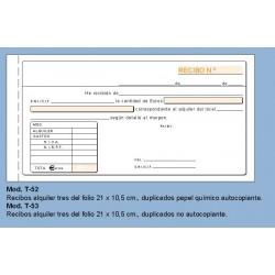 Loan T-52 Talonario 1/3 Recibo de Alquiler Duplicado